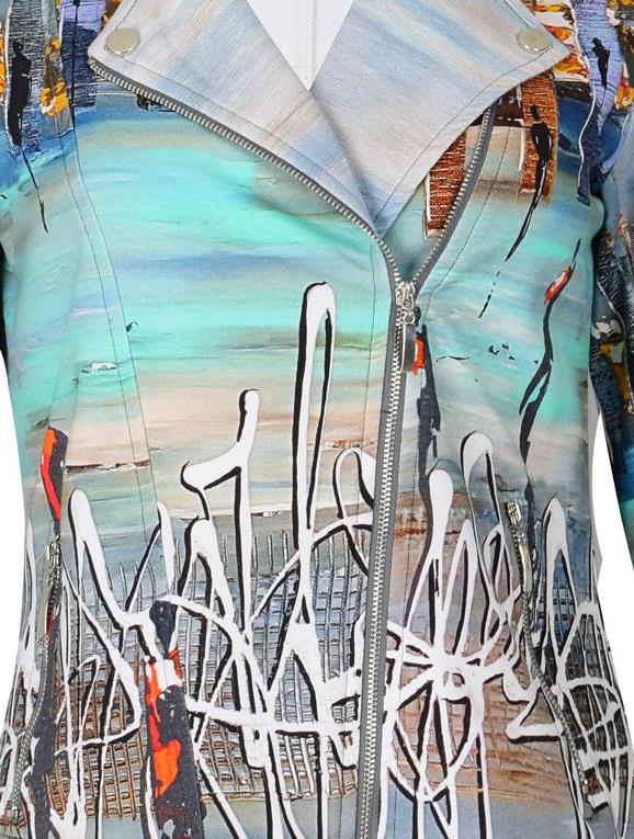 Simply Art Dolcezza: Indeed A Picture Perfect Beach Abstract Art Zip Moto Jacket SOLD OUT
