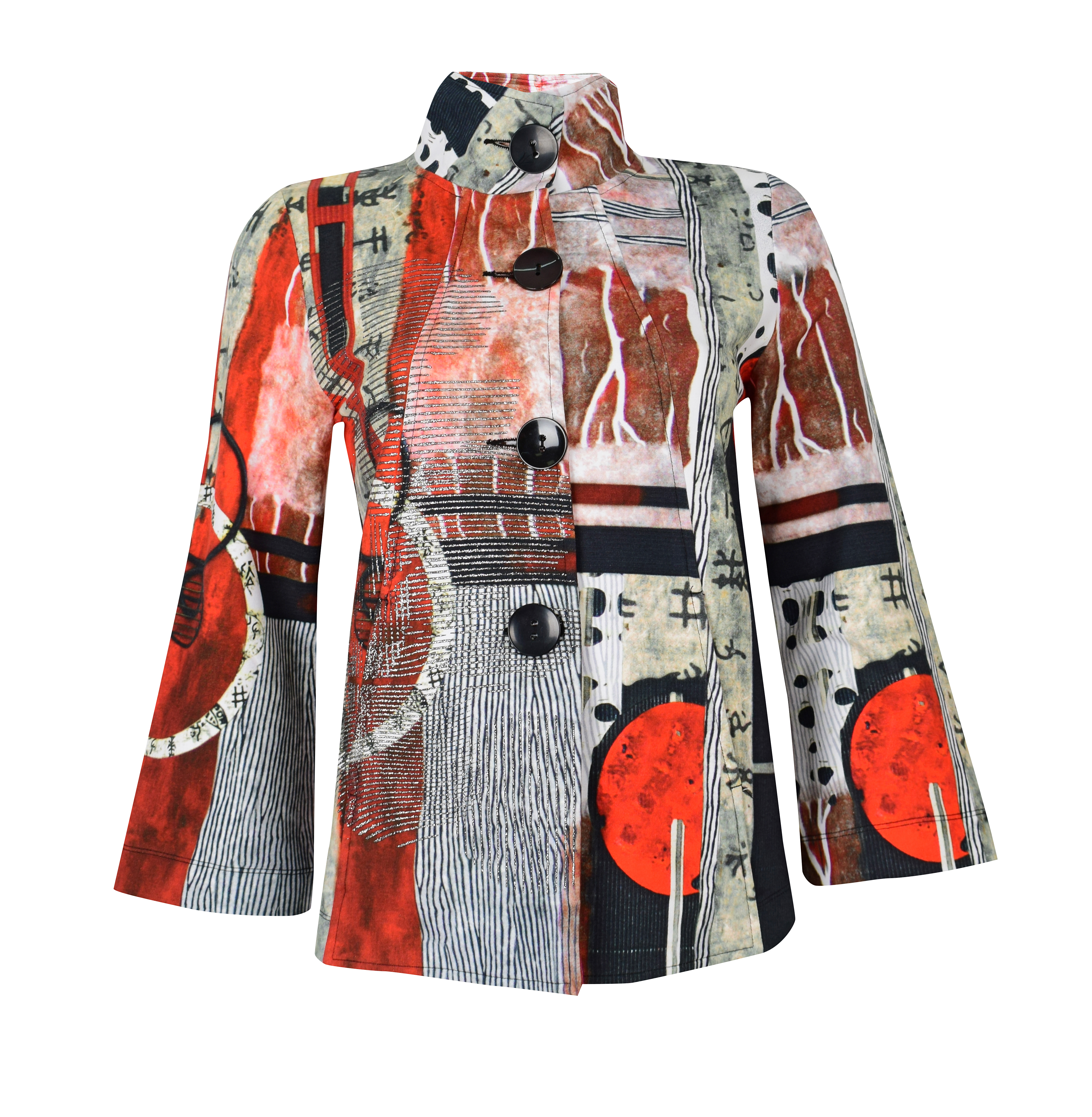 Simply Art Dolcezza: Pretty In Red Extraordinary Abstract Art Swing Coat (2 Left!) Dolcezza_SimplyArt_59648