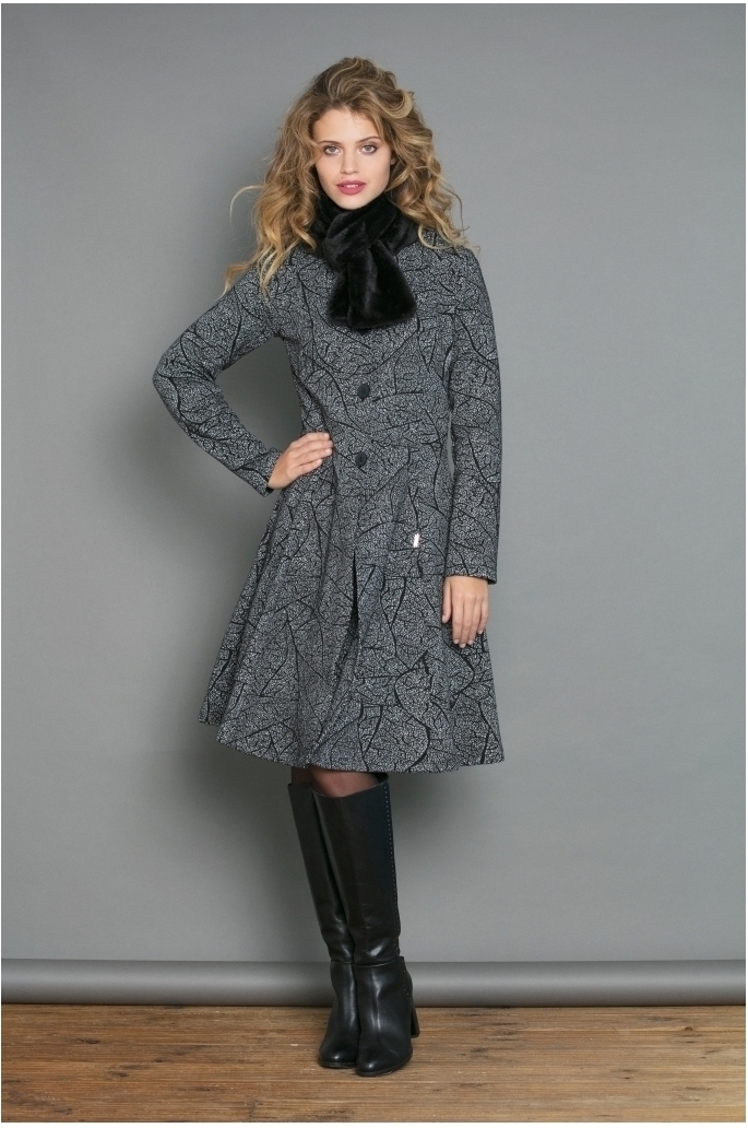 Maloka: Romantic Rainstorm Jacquard Flared Coat MK_FEBE_N