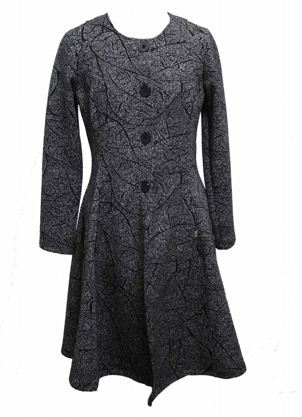 Maloka: Romantic Rainstorm Jacquard Flared Coat