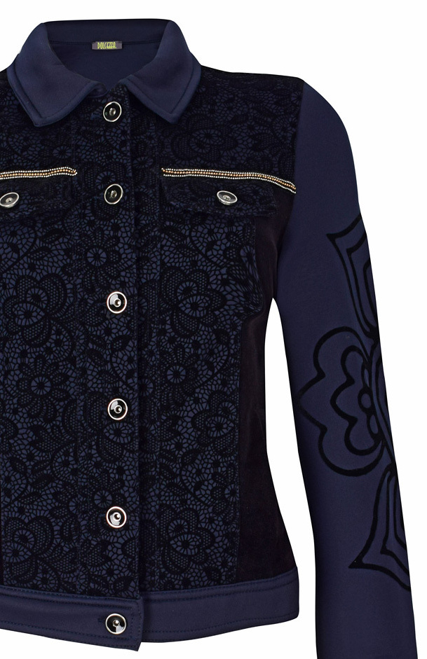 Dolcezza: Blue Velvet Engraved Petals Jacket (1 Left!)