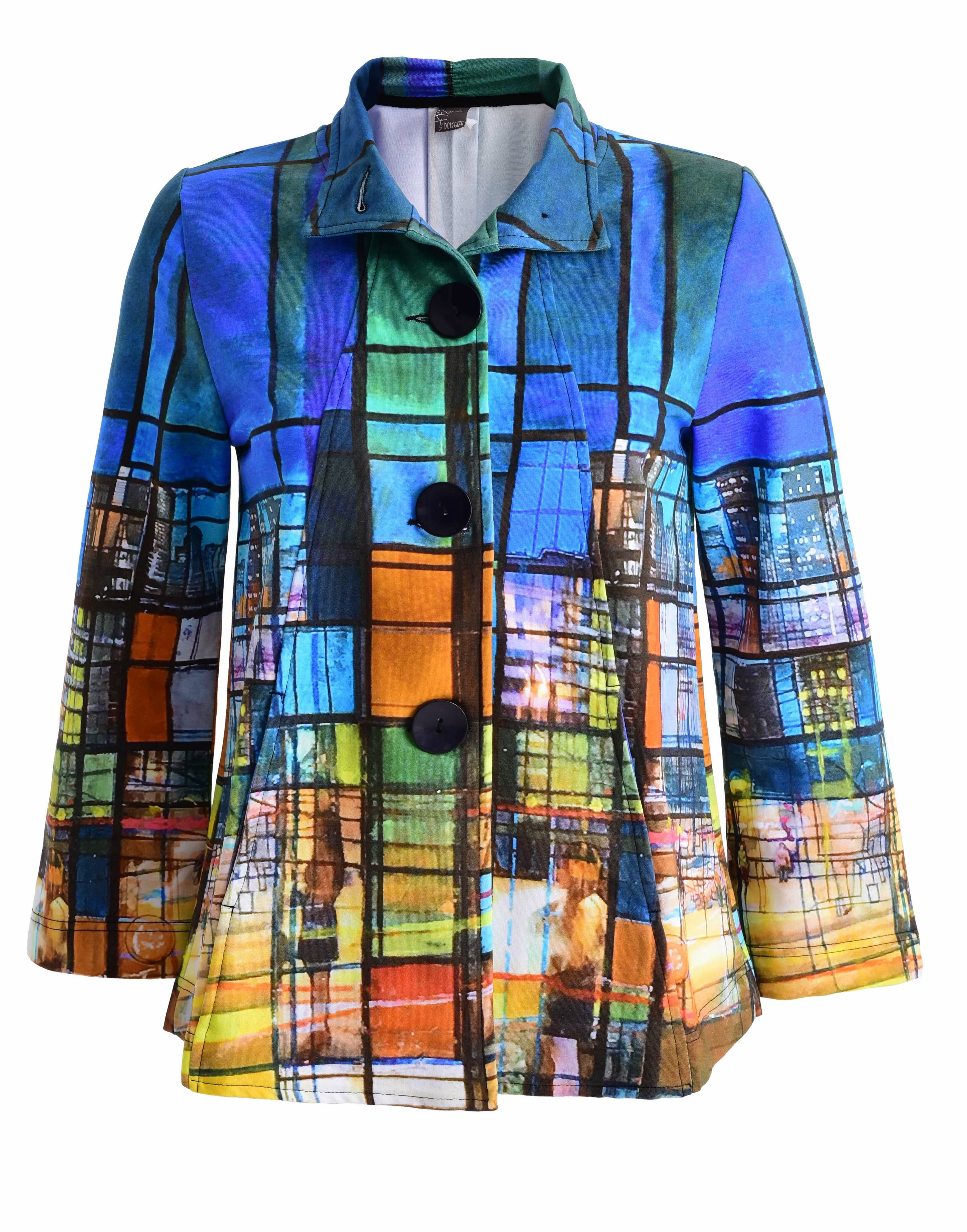 Simply Art Dolcezza: Colors Of Ville La Nuit Abstract Art Swing Coat (2 Left!) Dolcezza_SimplyArt_59717