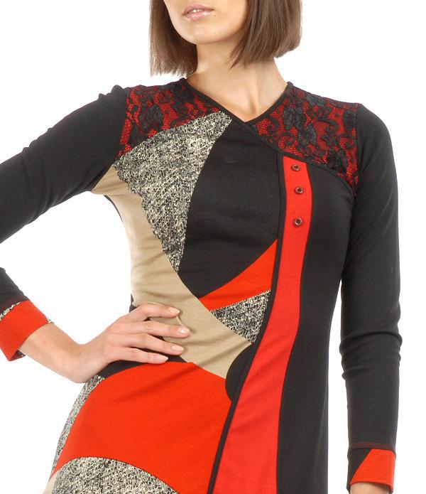 S'Quise Paris: Asymmetrical Color Pieced Midi Dress