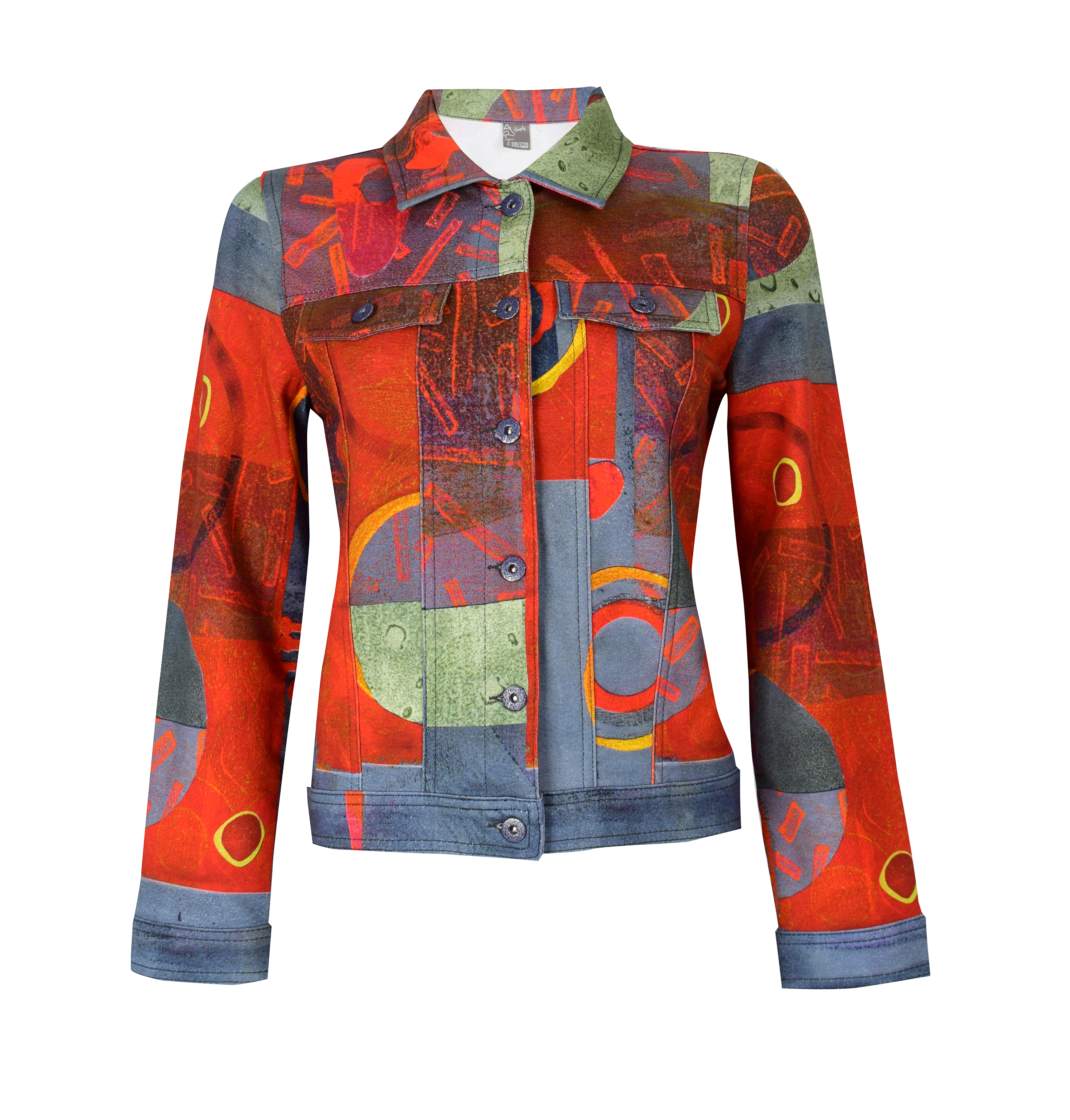 Simply Art Dolcezza: Expression of Color Yellow Dot Abstract Art Denim Jacket (2 Left!) Dolcezza_SimplyArt_59689