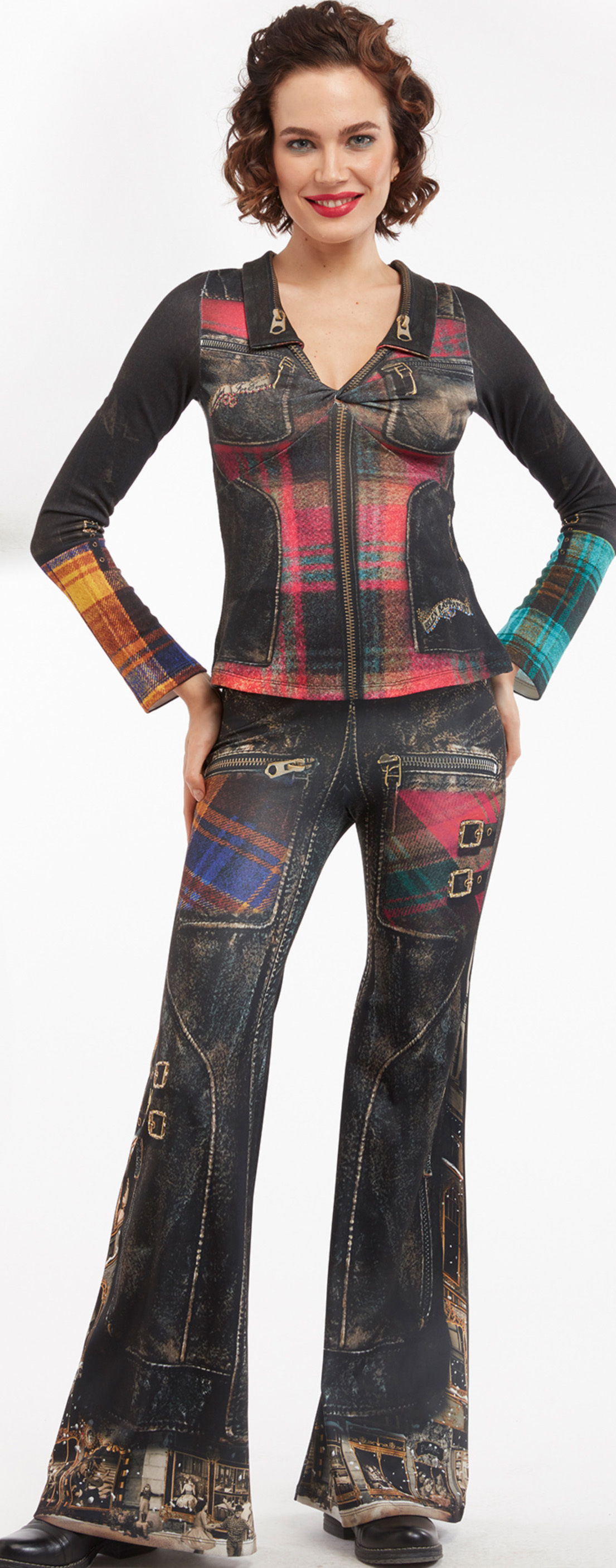 IPNG: Biker Chic Let It Snow Plaid Illusion Wide Leg Pants