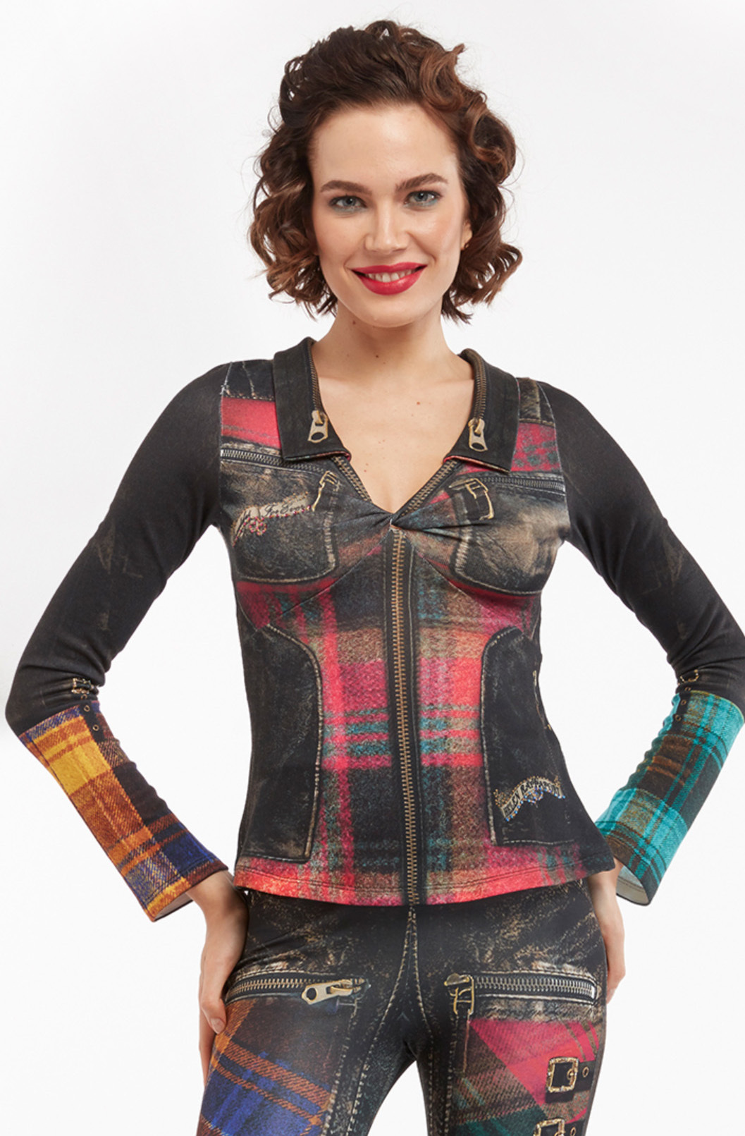 IPNG: Biker Chic Let It Snow Plaid Zip Illusion Top IPNG_LISB-014