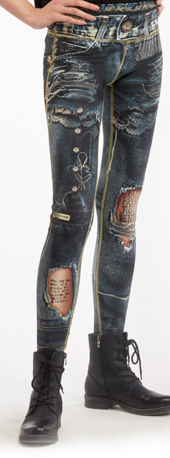 IPNG: Love Letter Ripped Jean Illusion Legging (Many Colors!) IPNG_BSCL_15_16_17_18_19_020_021