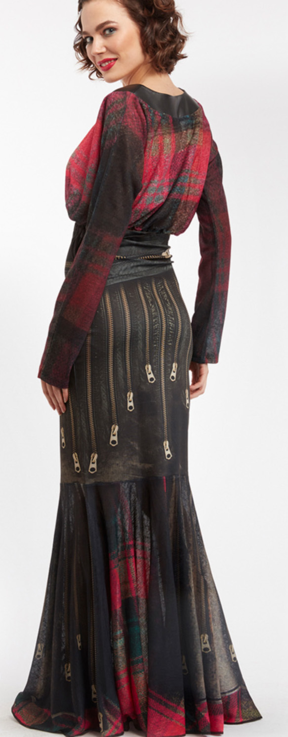 IPNG: Biker Chic Let It Snow Plaid Zip Illusion Long Ruffled Skirt