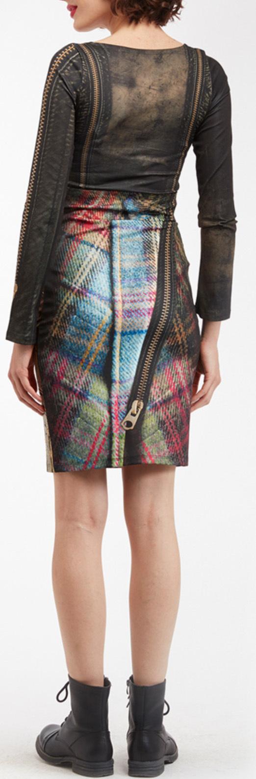 IPNG: Biker Chic Let It Snow Plaid Zip Illusion Skirt
