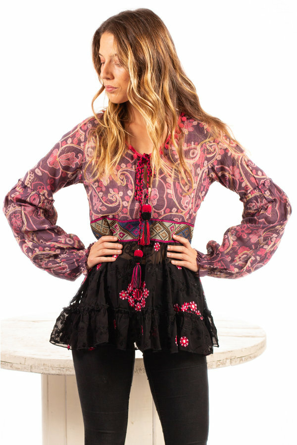 Savage Culture: Pink Pom Pom Puffed Sleeves Tunic