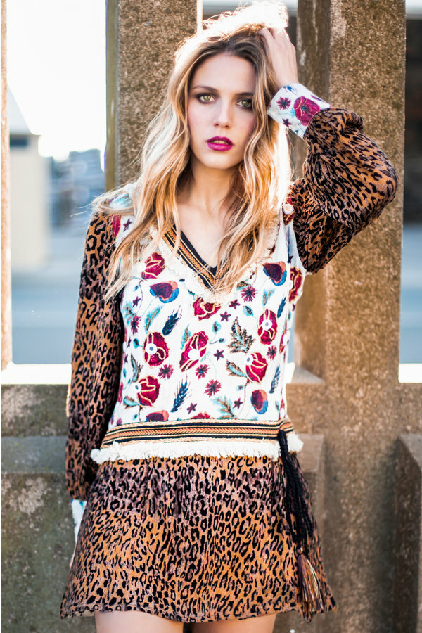 Savage Culture: Leopard Rose Petal Dress SAVAGE_37130