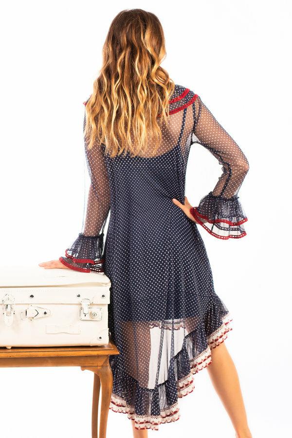 Savage Culture: Trumpet Sleeve Ruffle High Low Dress