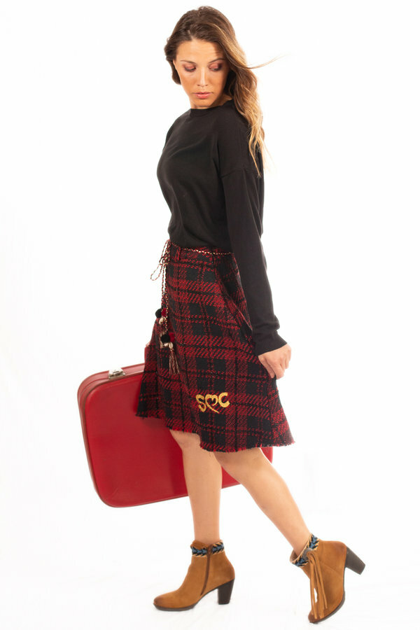 Savage Culture: Venetian Red Checkered Fringed Midi Skirt