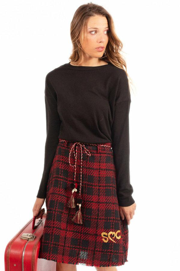 Savage Culture: Venetian Red Checkered Fringed Midi Skirt SAVAGE_37010