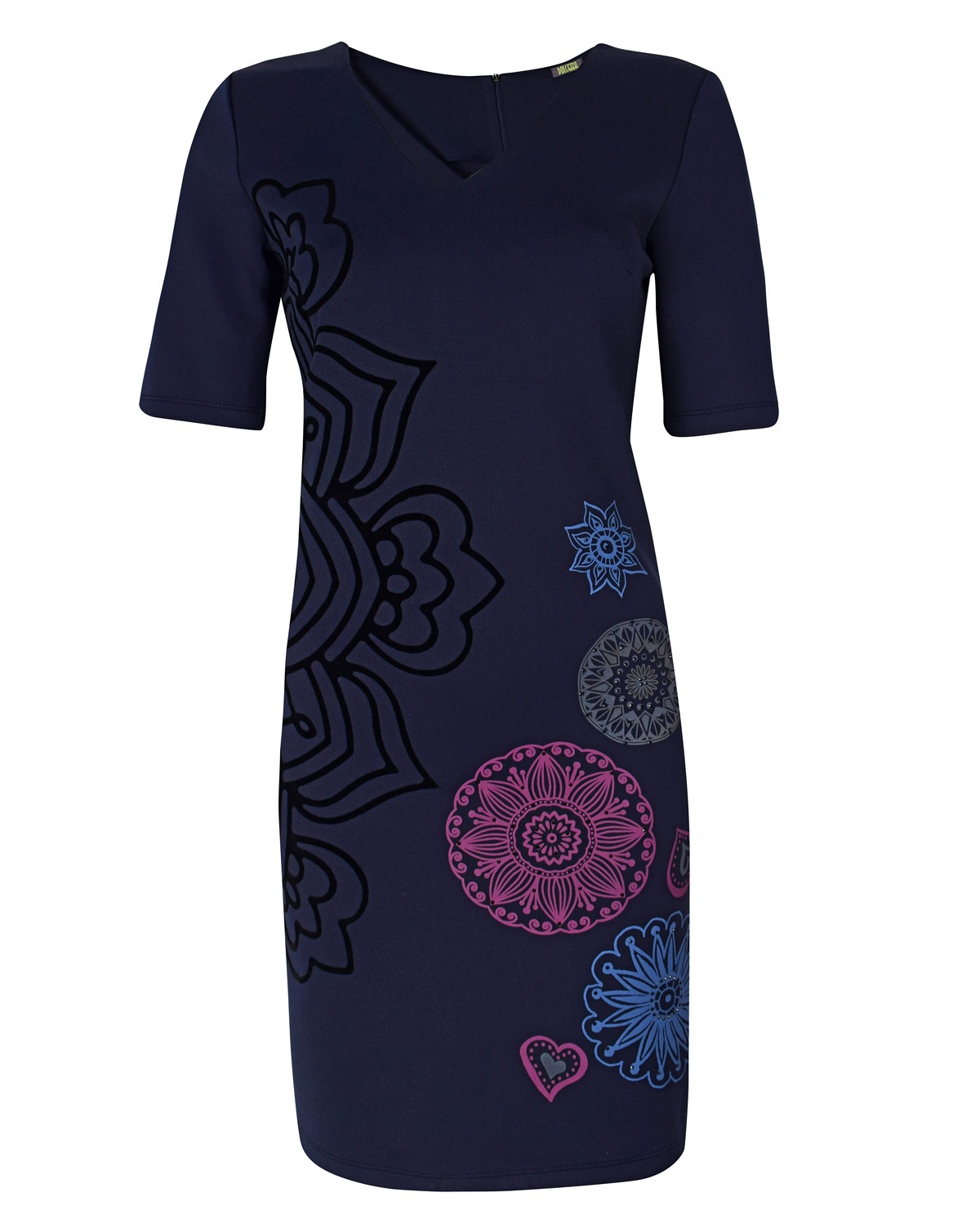 Dolcezza: Blue Velvet Engraved Petals Midi Dress SOLD OUT