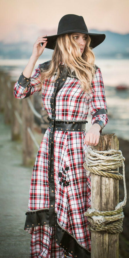 Savage Culture: Checkered Vegan Leather Waist Moto Dress SAVAGE_37072