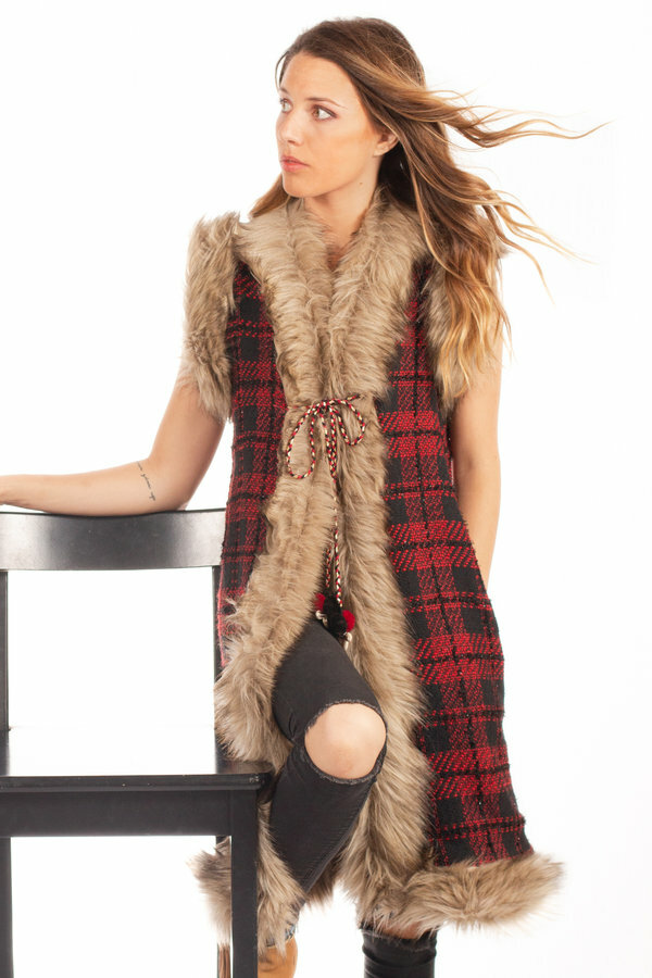 Savage Culture: Venetian Red Checkered Faux Fur Long Vest