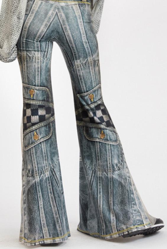 IPNG: Destructive Denim & Knit Illusion Grand Familia Flare Pants
