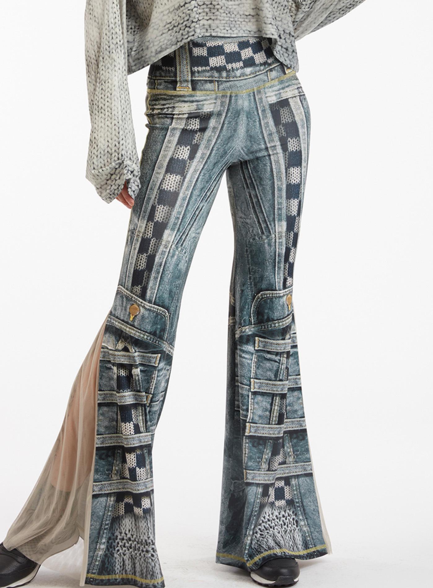 IPNG: Destructive Denim & Knit Illusion Grand Familia Flare Pants IPNG_GFYP-064