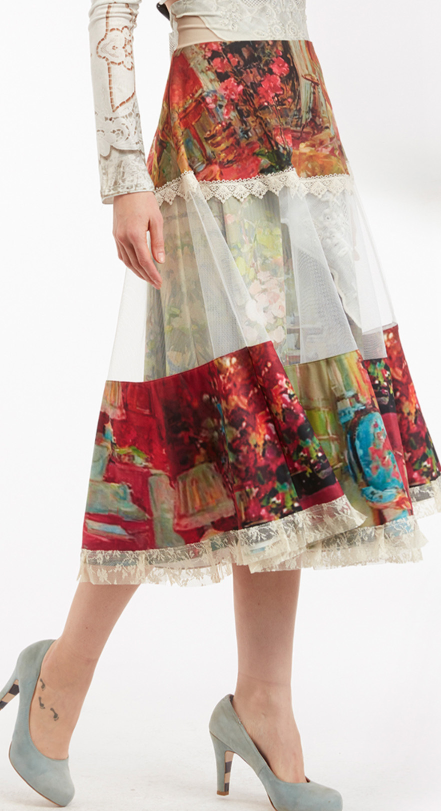 IPNG: Pink Living Room Illusion High Waist Poetic Layers Skirt