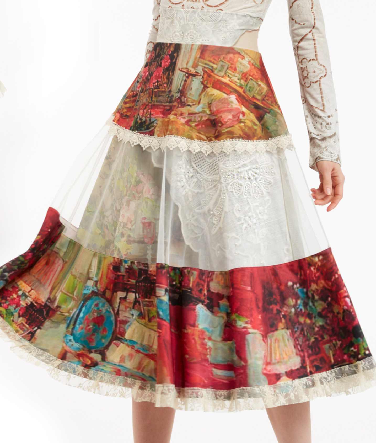 IPNG: Pink Living Room Illusion High Waist Poetic Layers Skirt IPNG_PLSKH-070