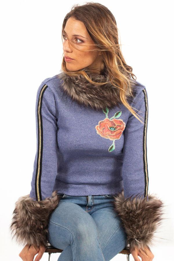 Savage Culture: Orange Rose Blue Jeans Knit Faux Fur Sweater SAVAGE_37141_N