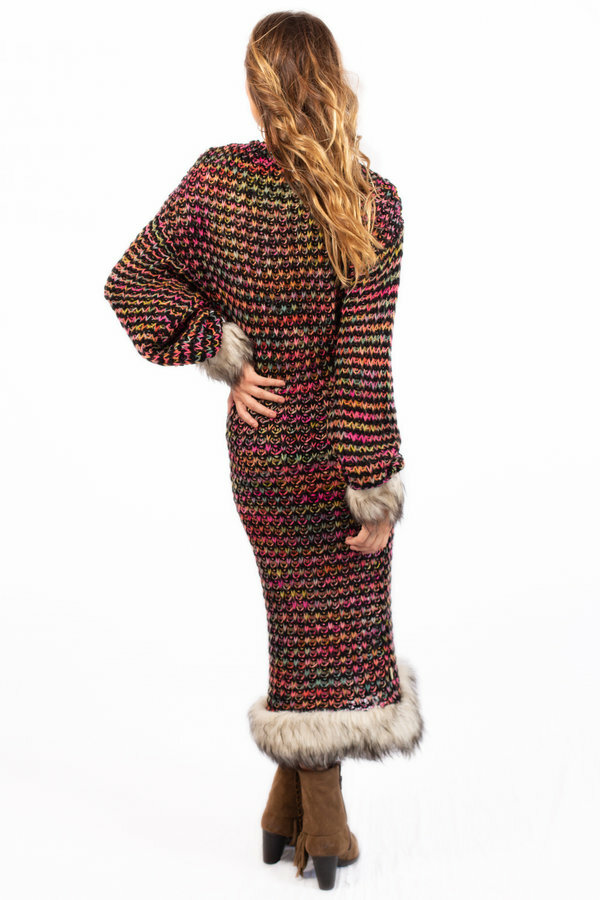 Savage Culture: Pom Pom Faux Fur Sweater Dress