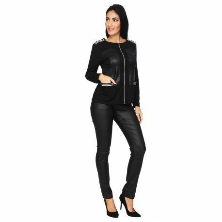 S'Quise Paris: Side Pocket Faux Leather Zip Top