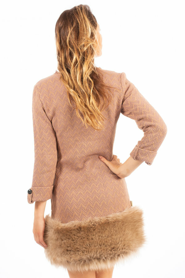 Savage Culture: Zigzag Knit Faux Fur Dress