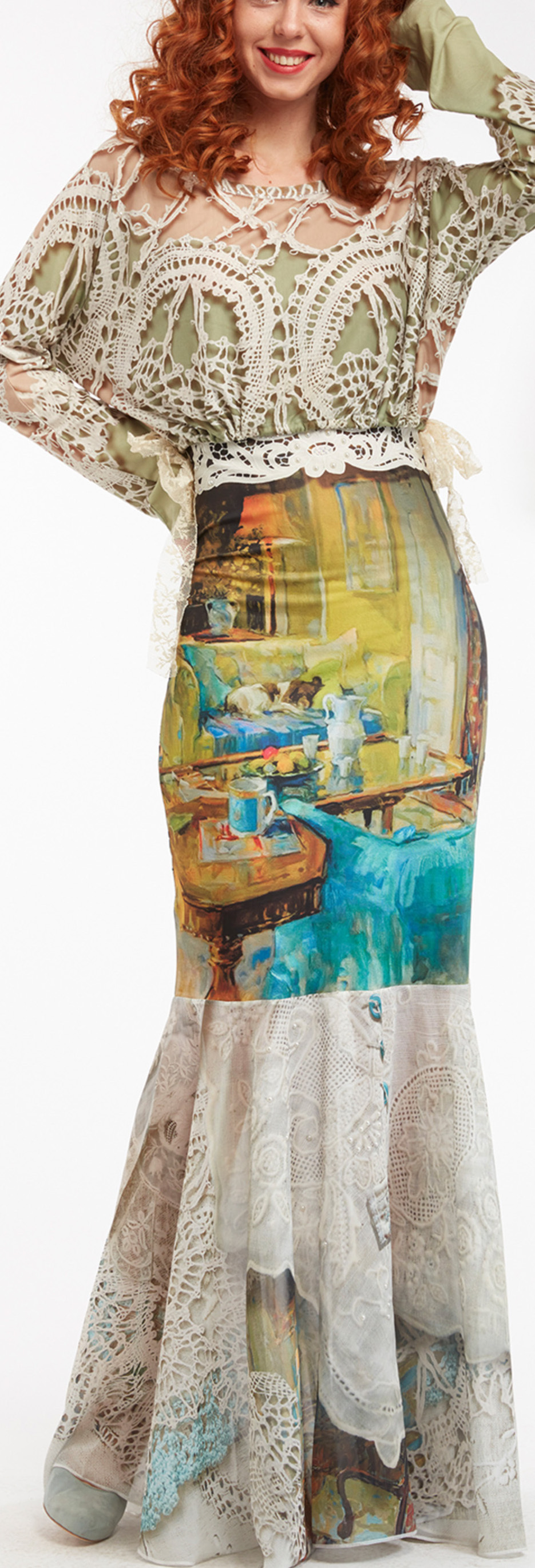 IPNG: Emerald Living Room Illusion Poetic Layers Mermaid Skirt IPNG_PLSKRL-073