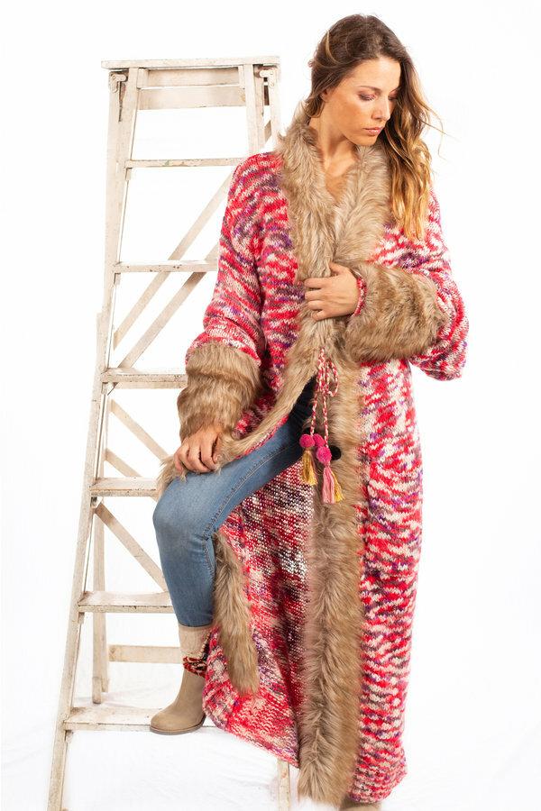 Savage Culture: Pink Purple Pom Pom Faux Fur Long Cardigan Coat SAVAGE_37036