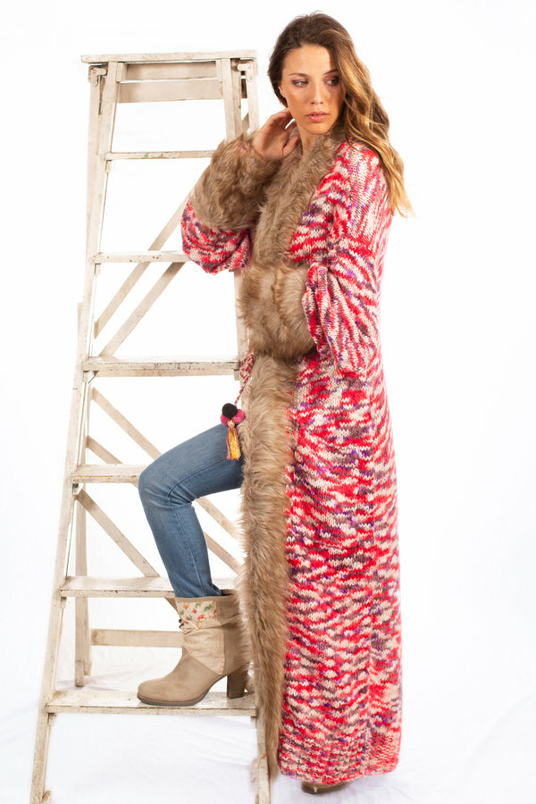 Savage Culture: Pink Purple Pom Pom Faux Fur Long Cardigan Coat