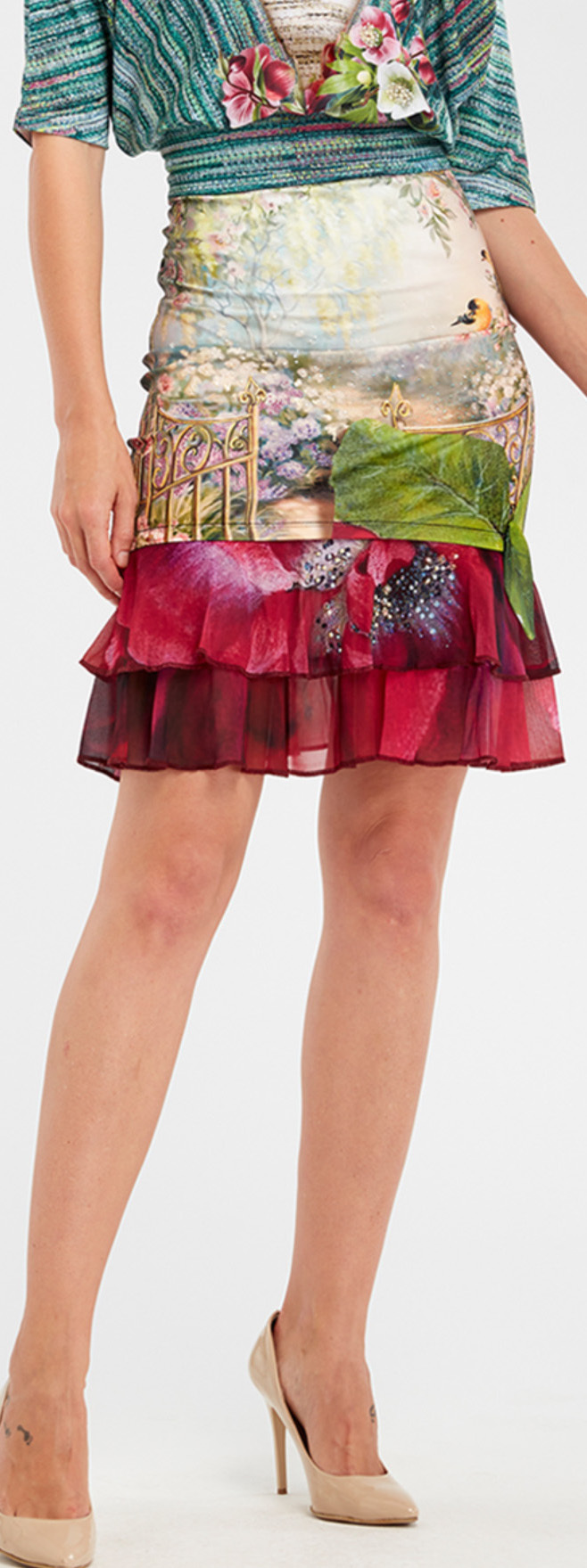 IPNG: Cherry Carnation Lace 3D Illusion Fit & Flare Mini Skirt IPNG_IPSKM-072