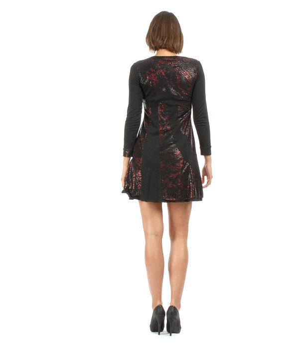 S'Quise Paris: Rosette Fringed Faux Leather Patched Dress