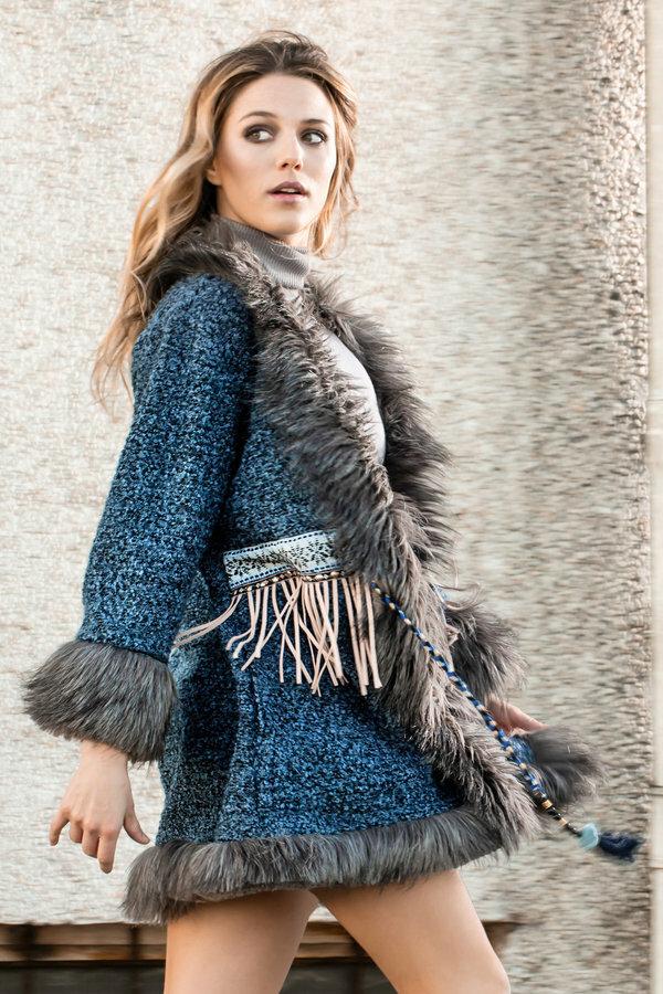 Savage Culture: Blue Diamond Faux Fur Sweater Coat SAVAGE_37024
