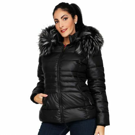 S'Quise Paris: Sleek Puffer Faux Fur Jacket With Removable Hood SQ_DC1003