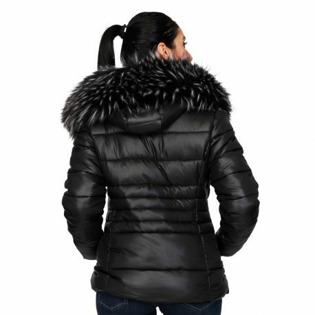 S'Quise Paris: Sleek Puffer Faux Fur Jacket With Removable Hood