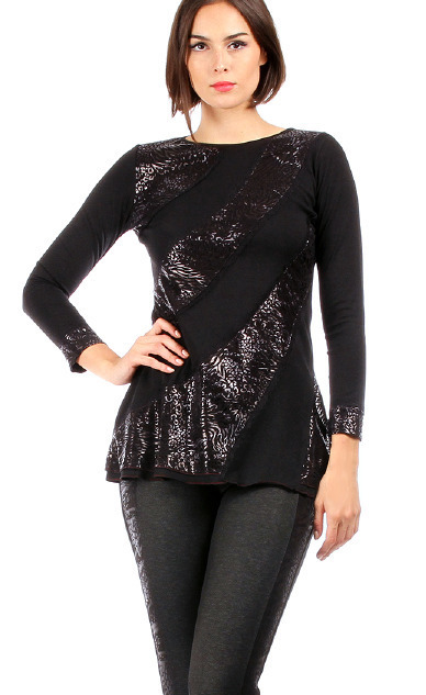 S'Quise Paris: Silver Fringed & Flared Tunic SQ_1580_S