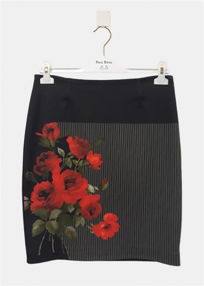 Paul Brial: Baby Red Roses Fitted Zip Skirt PB_INSOLENTE