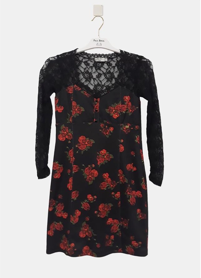 Paul Brial: Baby Roses Lace Decolletage Fitted Dress PB_LOLITA