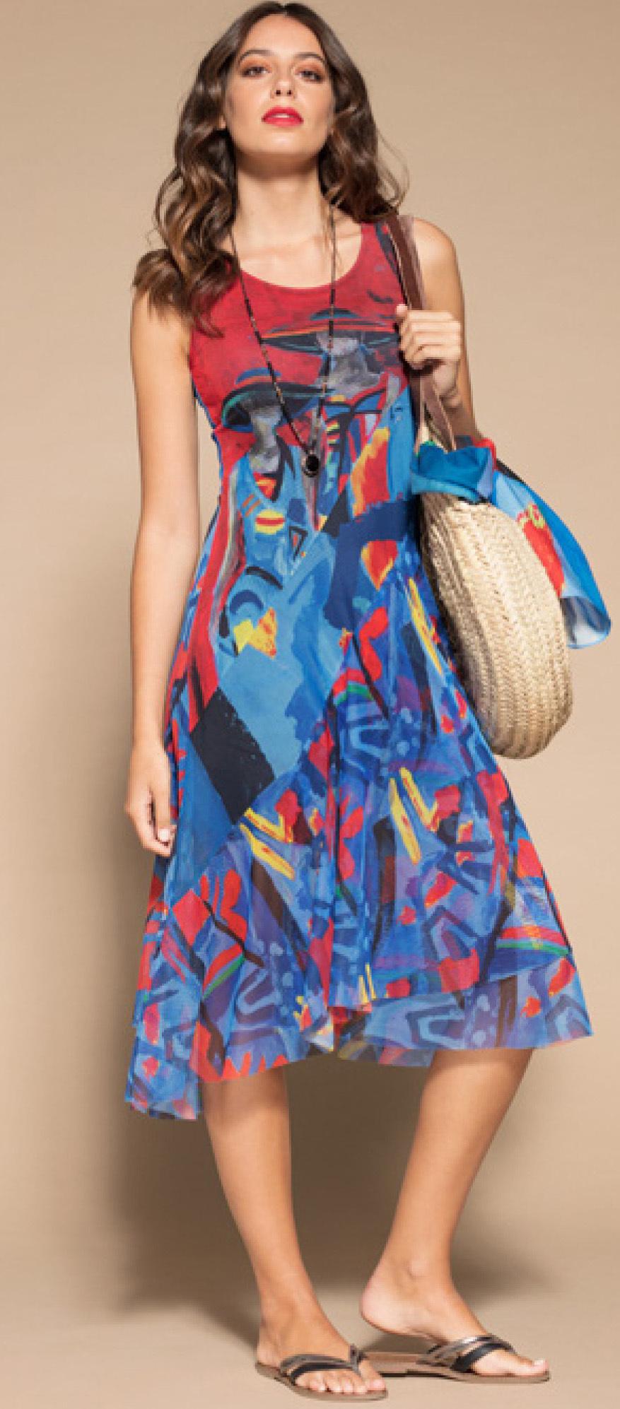 Maloka: Colors Of Picasso's Gypsy Beauty Abstract Art Midi Sundress MK_GAUDI