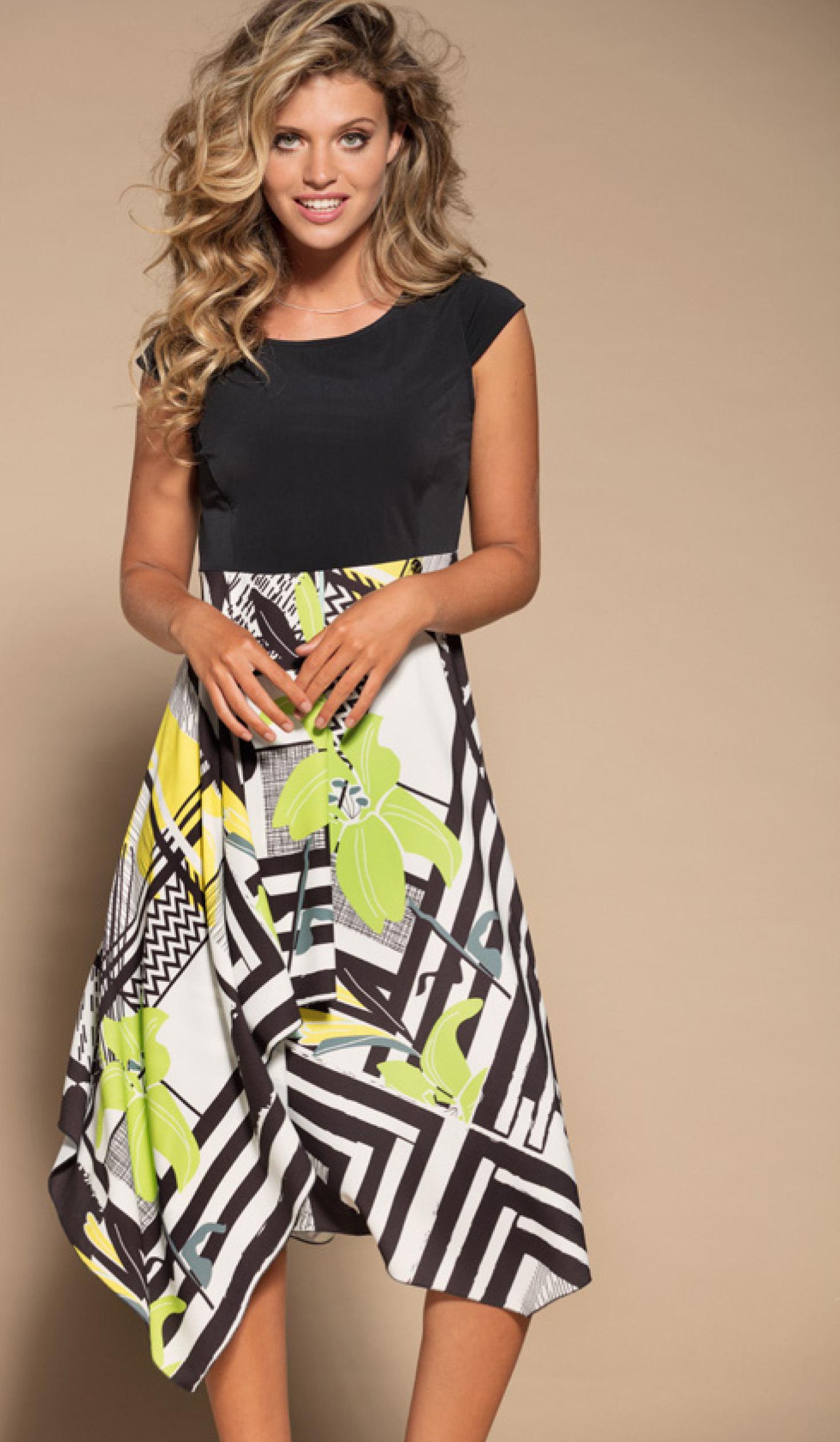 Maloka: Lemon Lime Marble High Waisted Asymmetrical Midi dress MK_NELY
