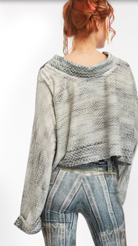 IPNG: Destructive Denim & Knit Illusion Grand Familia Crop Top