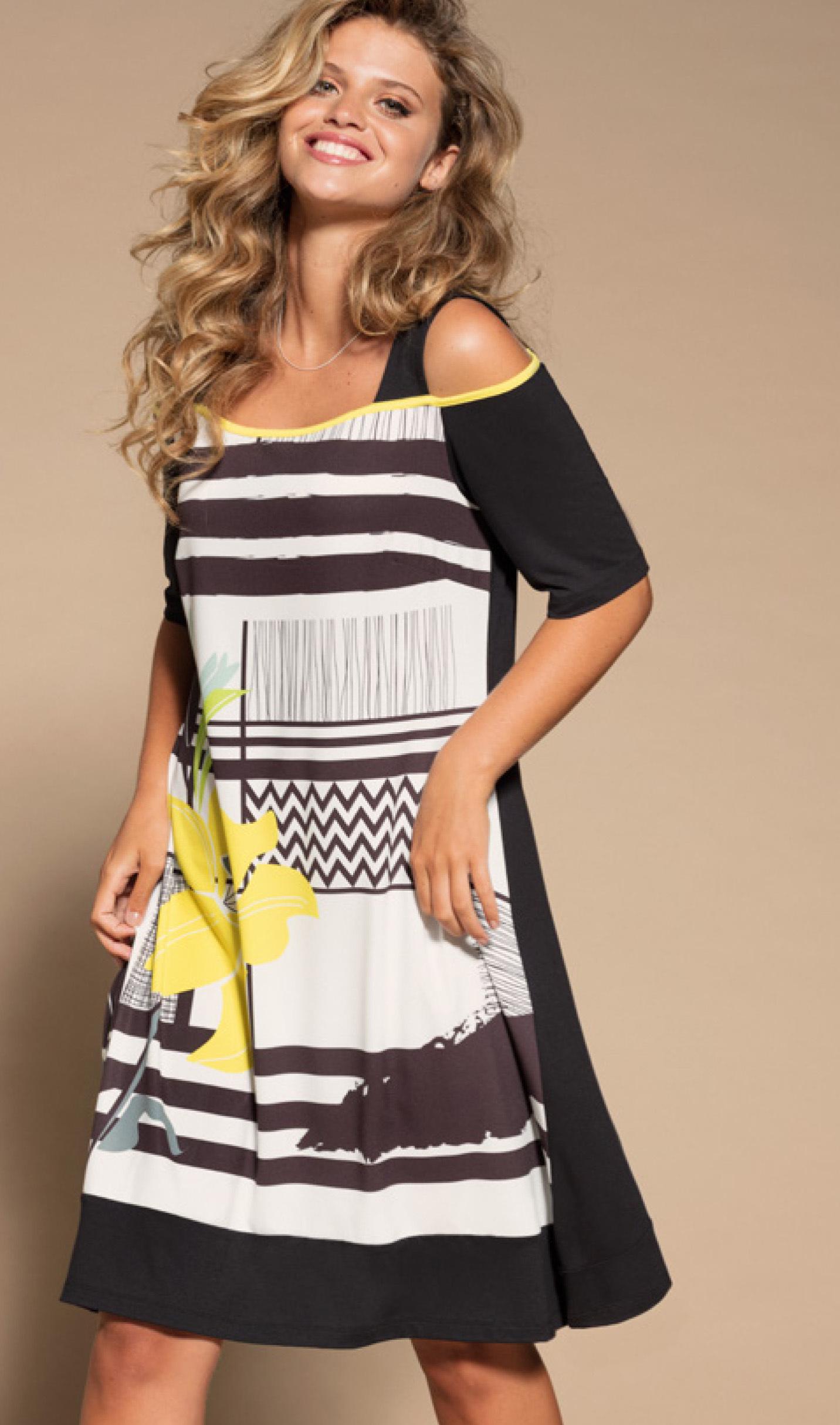 Maloka: Lemon Lime Marble Cold Shoulder Dress/Tunic MK_NAEMI