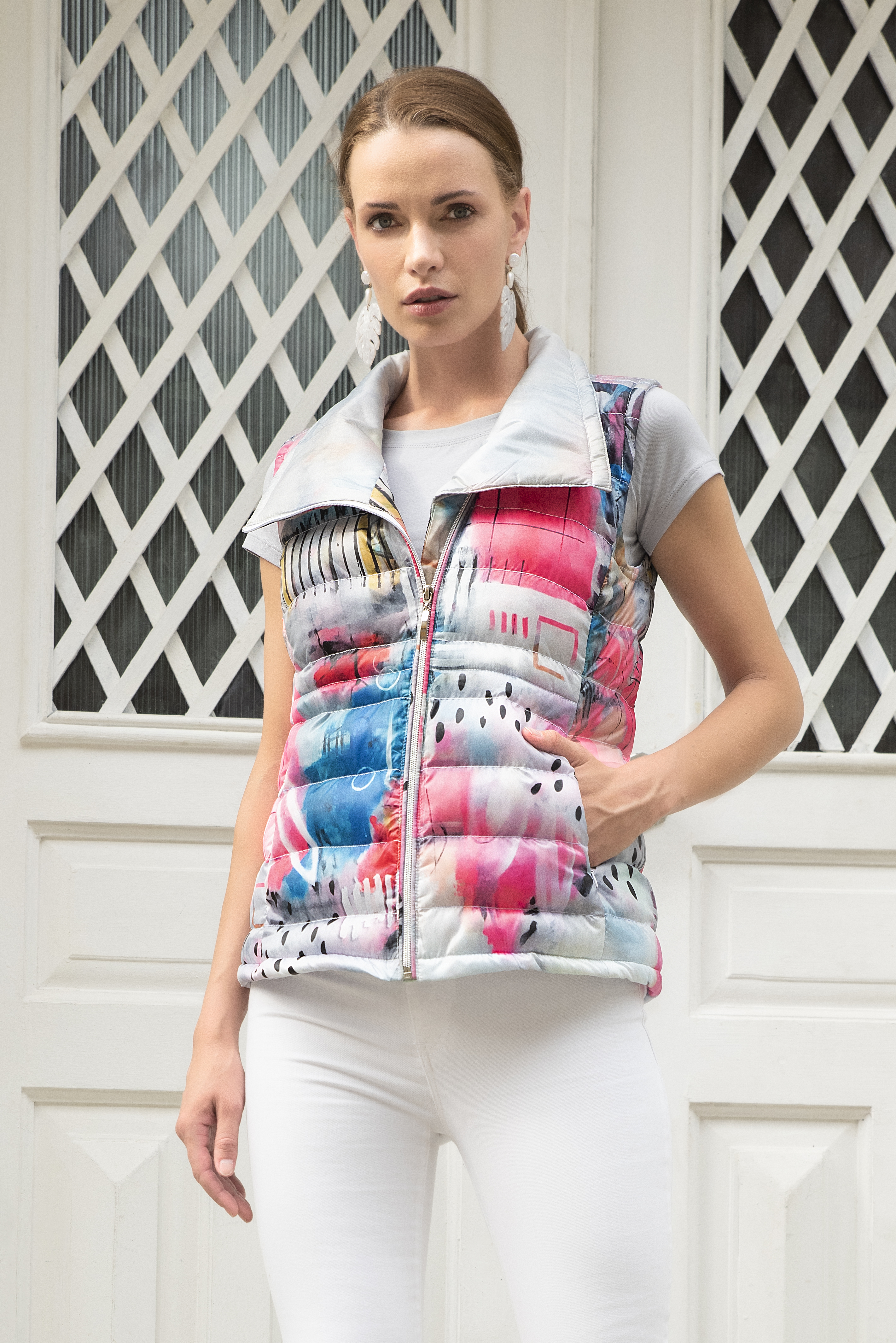 Simply Art Dolcezza: Receive The Best Things In Life Abstract Art Puffer Vest DOLCEZZA_SIMPLYART_20803