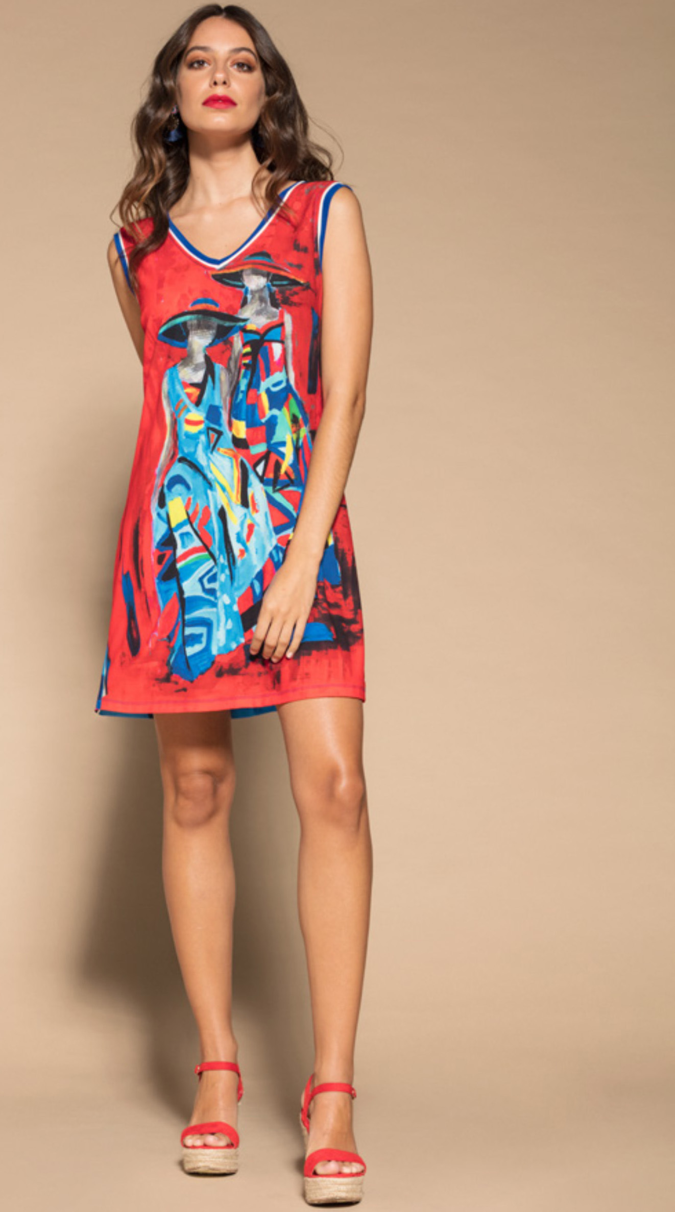 Maloka: Colors Of Picasso's Gypsy Beauty Abstract Art Tunic/Dress MK_GENEVIEVE