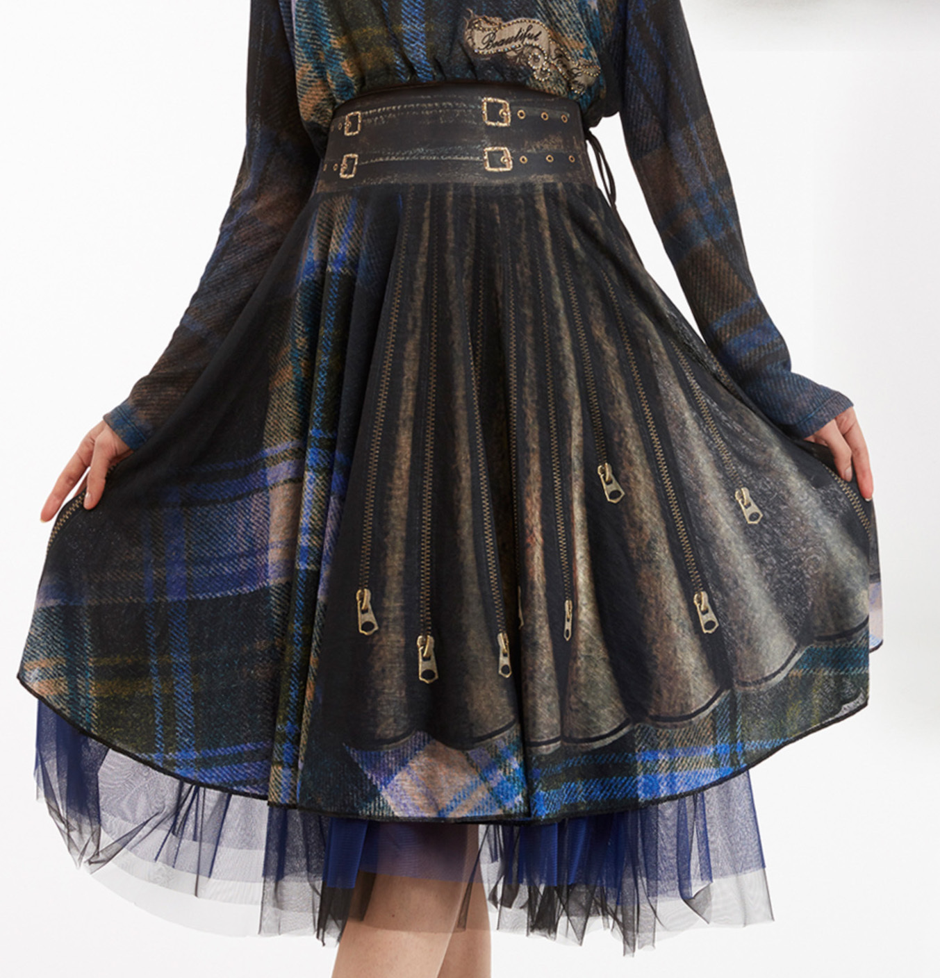 IPNG: Biker Chic Let It Snow Plaid Illusion Four Corners Skirt (Some Ship Immed!) IPNG_LISSKS-006
