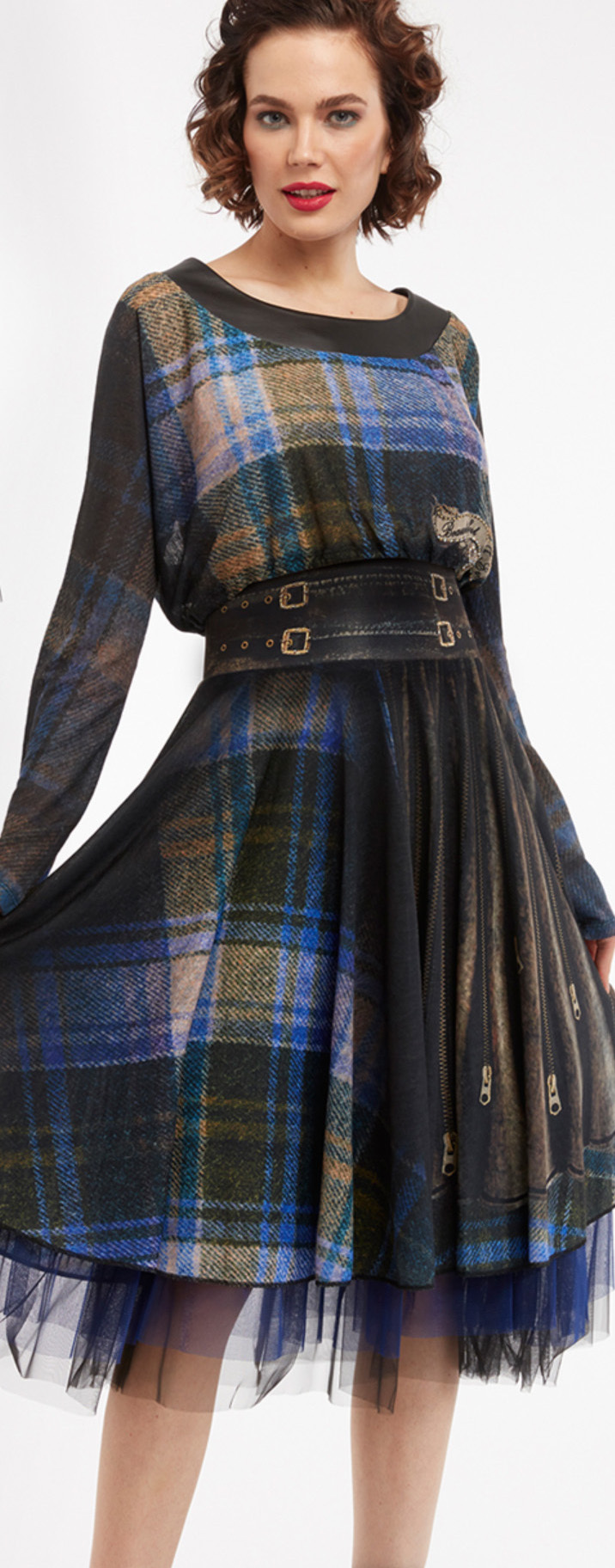 IPNG: Biker Chic Let It Snow Plaid Illusion Four Corners Skirt (Some Ship Immed!)