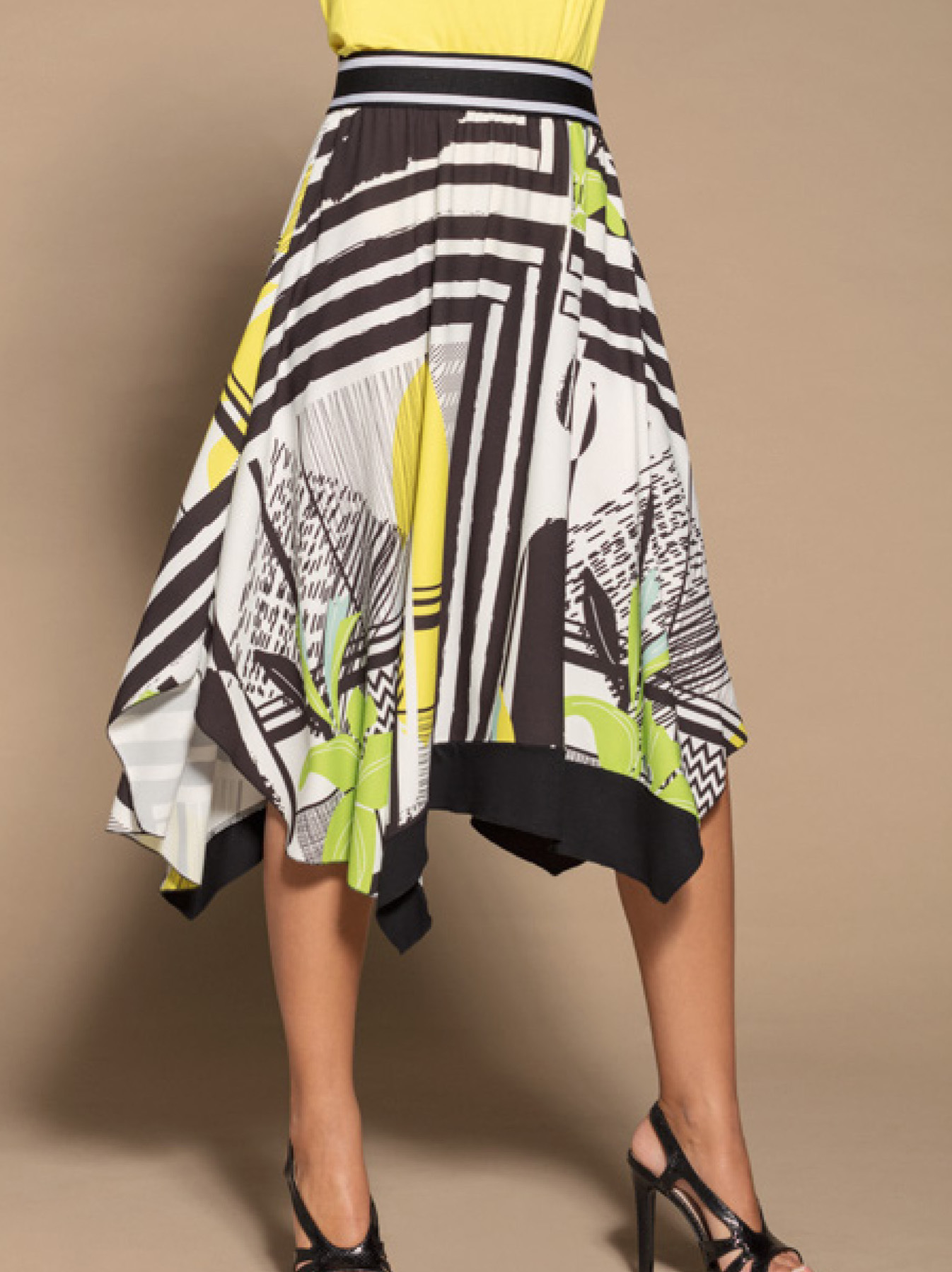 Maloka: Lemon Lime Marble High Waisted Asymmetrical Midi Skirt MK_NADEEN
