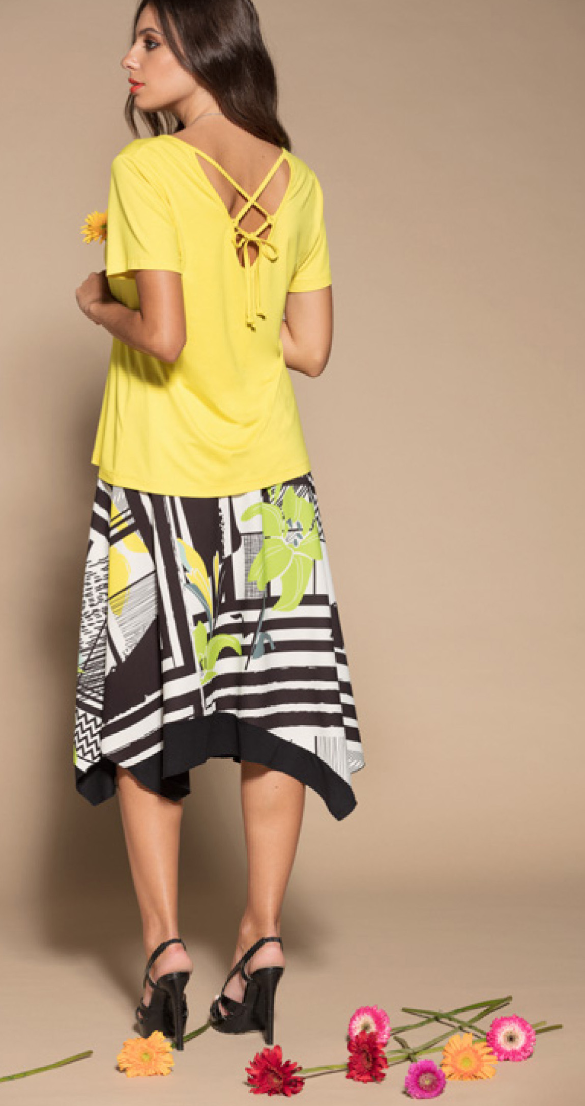 Maloka: Lemon Lime Marble High Waisted Asymmetrical Midi Skirt